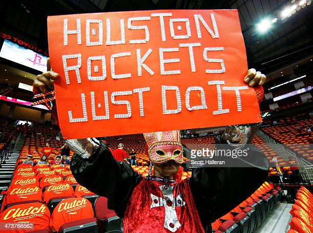 Houston Rockets fan holds up a sign prior to Game Seven of the Western Conference Semifinals against the Los Angeles Clippers at the Toyota Center...