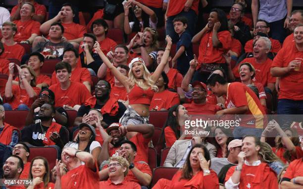 Houston Rockets fans cheer during Game Five of the Western Conference Quarterfinals game of the 2017 NBA Playoffs at Toyota Center on April 25 2017...