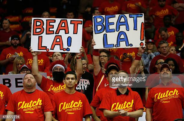 Houston Rockets fans prepare for Game Seven of the Western Conference Semifinals against the Los Angeles Clippers at the Toyota Center for the 2015...