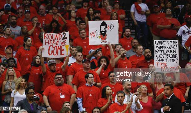 ''Houston Rockets fans show support during Game Five of the Western Conference Quarterfinals game of the 2017 NBA Playoffs at Toyota Center on April...