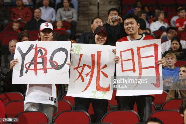 Houston Rockets fans show their support for Yao Ming during the game against the Milwaukee Bucks at the Toyota Center on November 9 2007 in Houston...