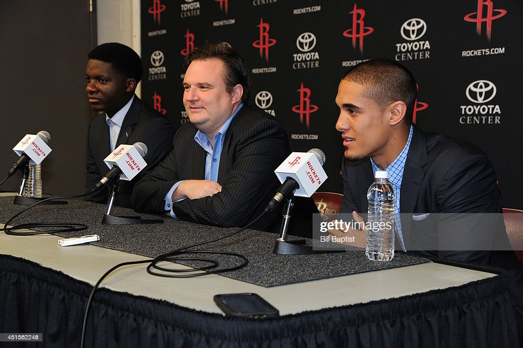 Houston Rockets GM Daryl Morey introduces the Rockets draft picks Clint Capela #15 and Nick Johnson #3 in Houston, Texas.