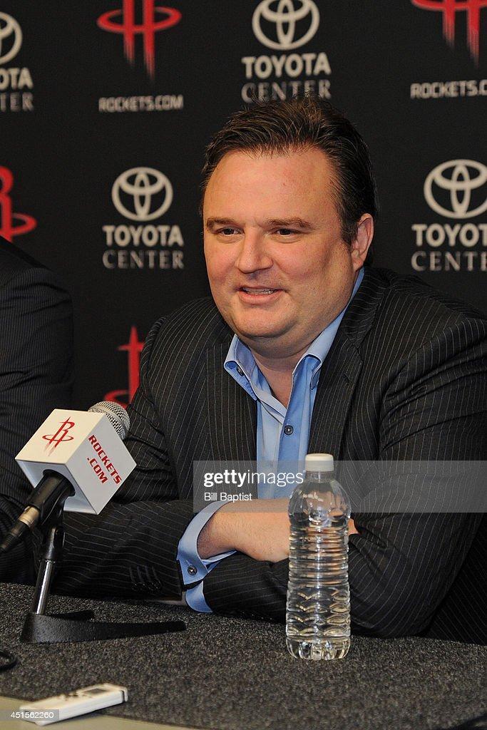 Houston Rockets GM Daryl Morey introduces the Rockets draft picks Clint Capela and Nick Johnson in Houston, Texas.