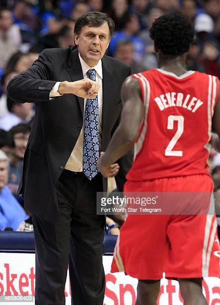 Houston Rockets head coach Kevin McHale gives instruction to point guard Patrick Beverley during the first period against the Dallas Mavericks at the...