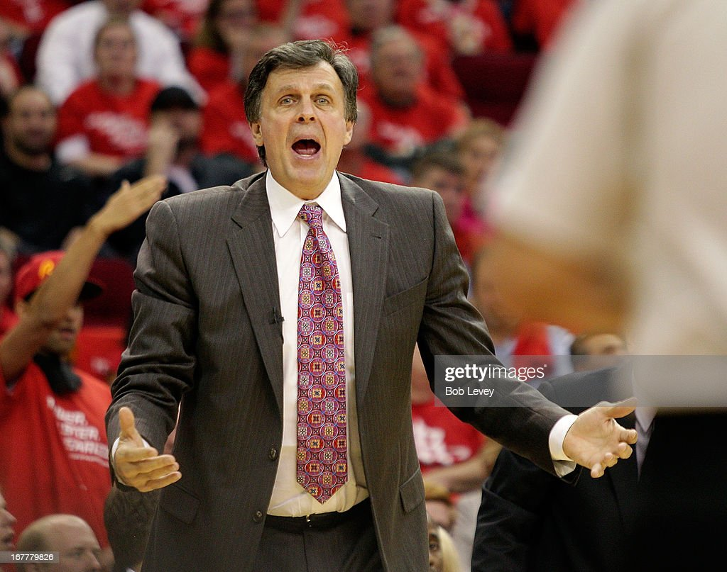 Houston Rockets head coach Kevin McHale questions an officials call in the third quarter against the Oklahoma City Thunder during Game Four of the Western Conference Quarterfinals of the 2013 NBA Playoffs at the Toyota Center on April 29, 2013 in Houston, Texas.