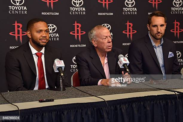 Houston Rockets Head Coach Mike D'Antoni and Owner Leslie Alexander announce the signings of Ryan Anderson and Eric Gordon during a press conference...