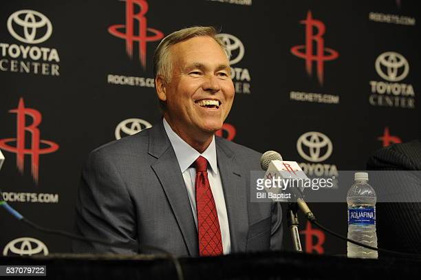 Houston Rockets new coach Mike D'Antoni is interviewed as the Rockets announce D'Antoni as their new head coach on June 1 2016 at Toyota Center in...