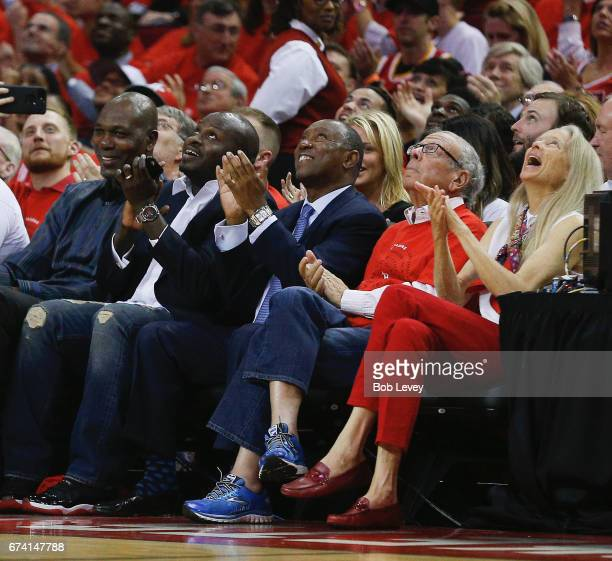 Houston Rockets owner Les Alexander looks on during Game Five of the Western Conference Quarterfinals game of the 2017 NBA Playoffs at Toyota Center...