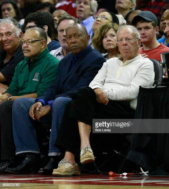 Houston Rockets owner Leslie Alexander and Houston Mayor Sylvester Turner watch from courtsied at Toyota Center on March 12 2017 in Houston Texas...