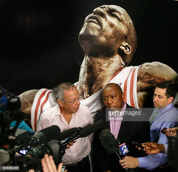Houston Rockets owner Leslie Alexander left speaks to the media with Houston Mayor Sylvester Turner as Alexander and the Houston Rockets donated...