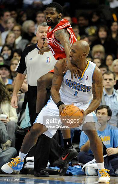 Houston Rockets point guard Aaron Brooks flagrantly fouls Denver Nuggets point guard Chauncey Billups during the second quarter on Monday January 3...