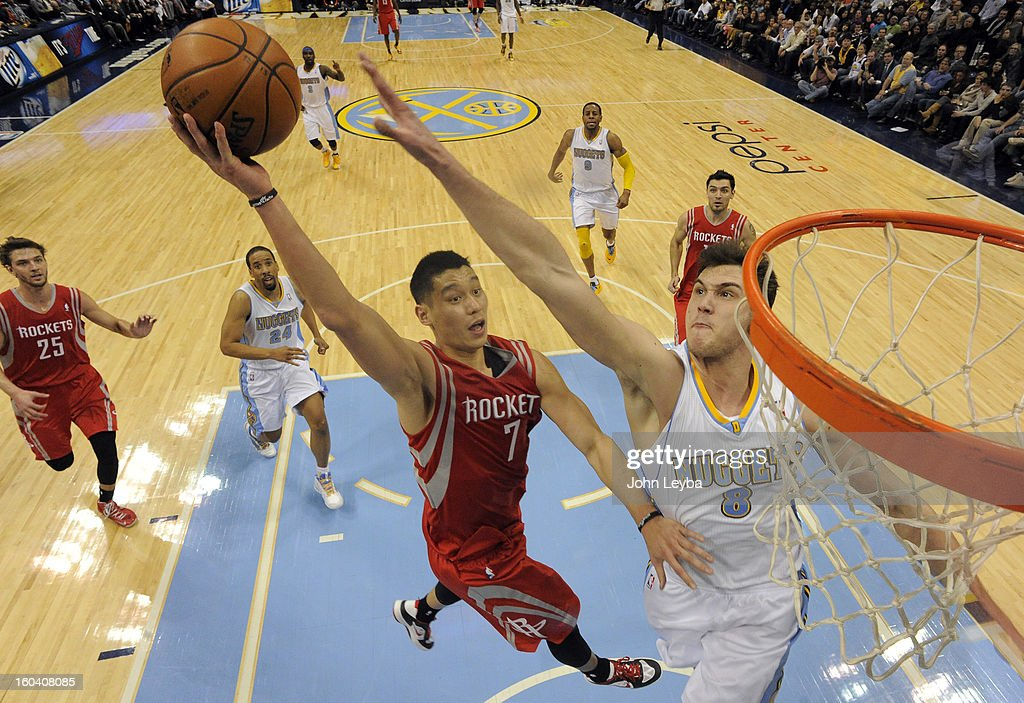 Houston Rockets point guard Jeremy Lin (7) drives to the basket on Denver Nuggets small forward Danilo Gallinari (8) during the fourth quarter January 30, 2013 at Pepsi Center. The Denver Nuggets take on the Houston Rockets in NBA action.