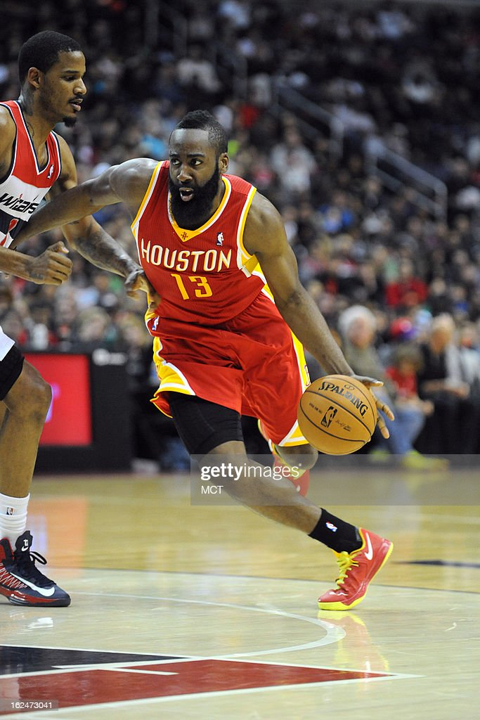 Houston Rockets shooting guard James Harden (13) drives to the basket during second-half action against the Washington Wizards at the Verizon Center in Washington, D.C., Saturday, February 23, 2013. The Wizards defeated the Rockets, 105-103.