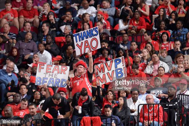 Houston Rocketsfans hold up signs during the game against the Chicago Bulls on February 3 2017 at the Toyota Center in Houston Texas NOTE TO USER...