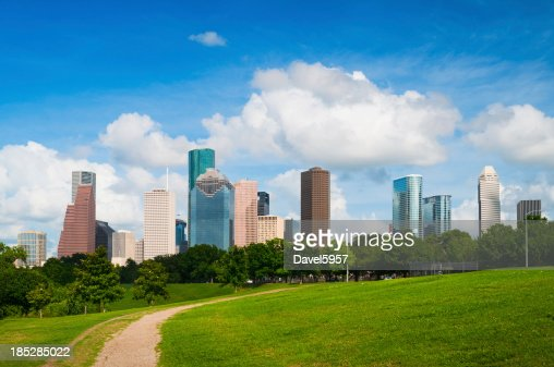 skyline di Houston e del parco