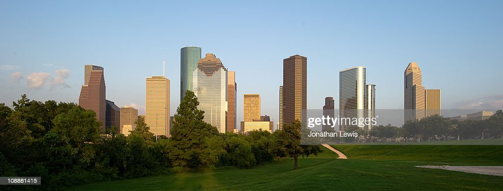 Houston skyline at dusk from Eleanor Tinsley Park