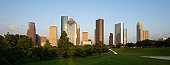Houston skyline at dusk from Eleanor Tinsley Park