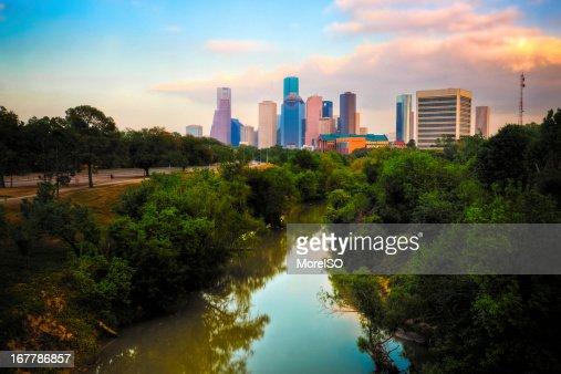 Houston, Skyline al tramonto