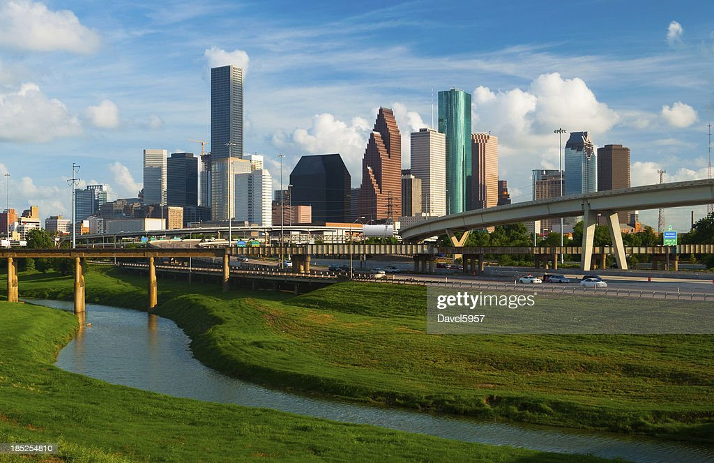 'Houston skyline, freeway, and river'