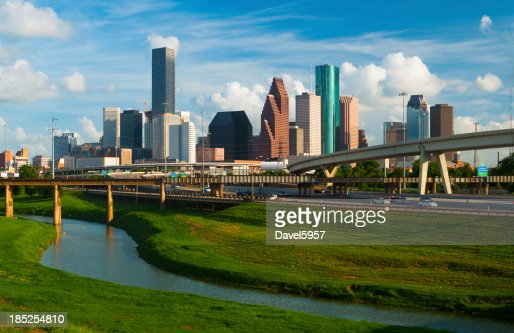 Houston, skyline, superstrada, e del fiume