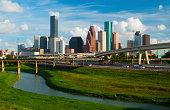 'Houston skyline, freeway, and river'