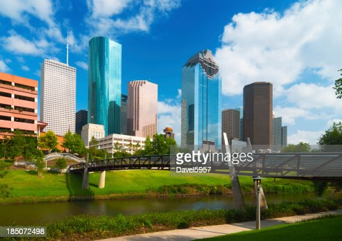 skyline di Houston, fiume e ponte