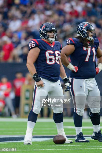 Houston Texans center Nick Martin gets ready for a play during the NFL game between the Tennessee Titans and the Houston Texans on October 1 2017 at...