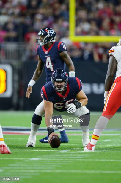Houston Texans center Nick Martin gets ready to snap the ball during the NFL game between the Kansas City Chief and the Houston Texans on October 8...