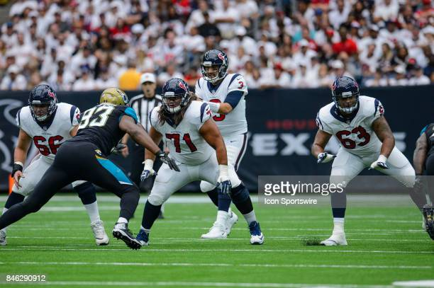 Houston Texans center Nick Martin offensive guard Xavier Su'aFilo and offensive tackle Kendall Lamm drop back in protection during the NFL game...