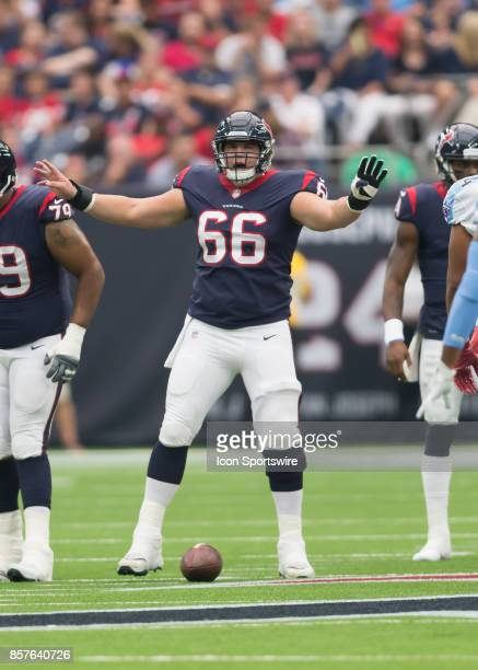 Houston Texans center Nick Martin signals to the line of scrimmage during the NFL game between the Tennessee Titans and Houston Texans on October 1...