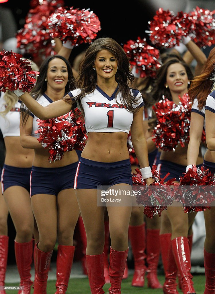 Houston Texans chearleaders perform during a preseason game against the Atlanta Falcons at Reliant Stadium on August 16, 2014 in Houston, Texas.