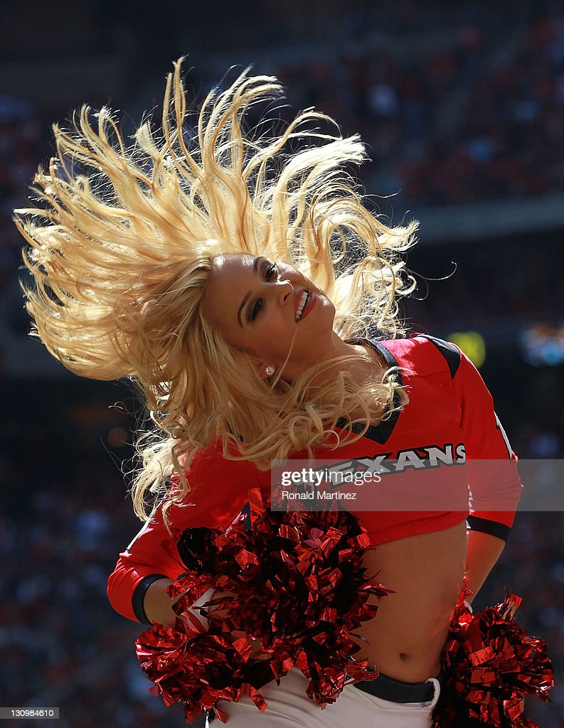 A Houston Texans cheerleader performs at Reliant Stadium on October 30, 2011 in Houston, Texas.