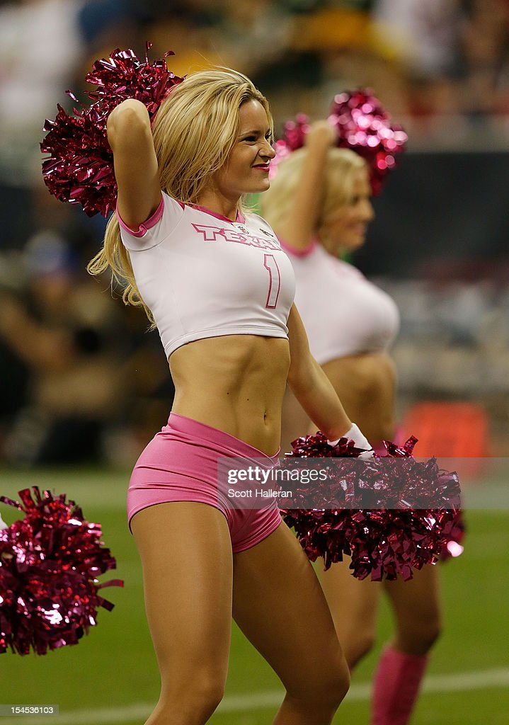 Houston Texans cheerleaders are seen during their game against the Green Bay Packers at Reliant Stadium on October 14, 2012 in Houston, Texas.