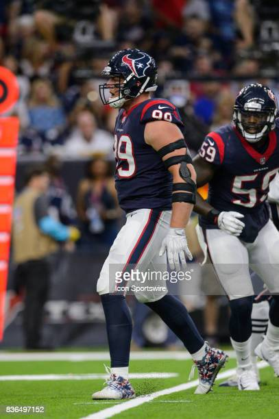 Houston Texans defensive end JJ Watt celebrates a big defensive play during the NFL preseason game between the New England Patriots and the Houston...