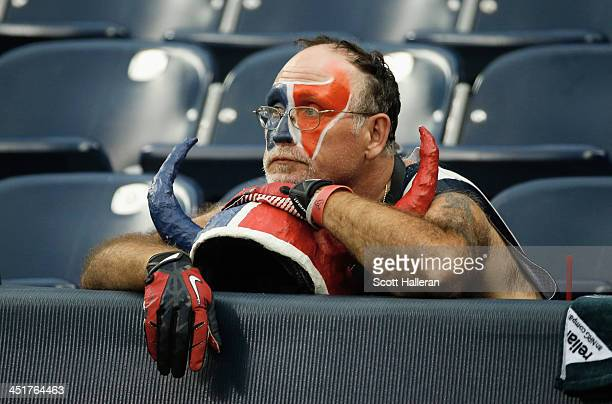 Houston Texans fan waits in the stands after the Texans were beaten 136 by the Jacksonville Jaguars at Reliant Stadium on November 24 2013 in Houston...