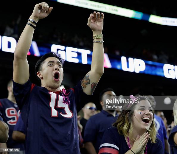 Houston Texans fans celebrate in the fourth quarter during the NFL game between the Indianapolis Colts and the Houston Texans at NRG Stadium on...