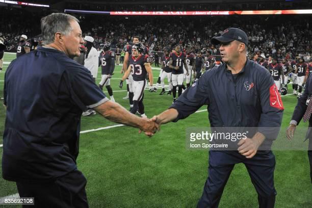 Houston Texans Head Coach Bill O'Brien and New England Patriots Head Coach Bill Belichick shake hands following the NFL preseason game between the...