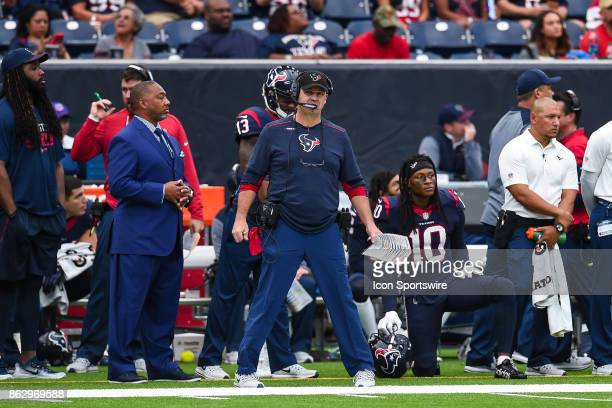 Houston Texans head coach Bill O'Brien looks on during the football game between the Cleveland Browns and the Houston Texans on October 15 2017 at...