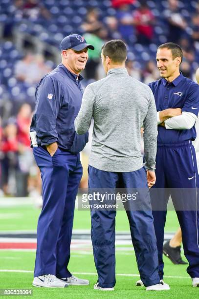 Houston Texans Head Coach Bill O'Brien shares a laugh during warmups before the NFL preseason game between the New England Patriots and the Houston...