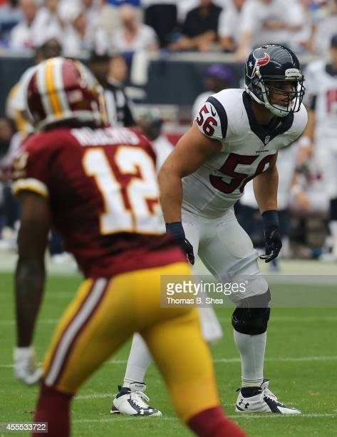 Houston Texans linebacker Brian Cushing lines up against the Washington Redskins on September 7 2014 at NRG Stadium in Houston Texas