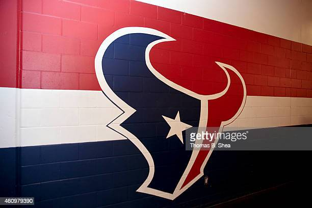 Houston Texans logo is seen before the Texans play the Jacksonville Jaguars in a NFL game on December 28 2014 at NRG Stadium in Houston Texas