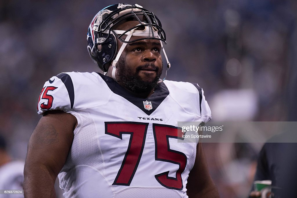 Houston Texans nose tackle Vince Wilfork (75) looks up at the scoreboard during the NFL game between the Houston Texans and Indianapolis Colts on December 11, 2016, at Lucas Oil Stadium in Indianapolis, IN.