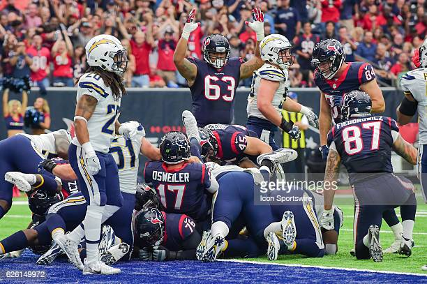 6e7b3b496 ... t shirt name d4dce 83e9c; sale houston texans offensive tackle kendall  lamm signals touchdown as houston texans quarterback brock osweiler settles