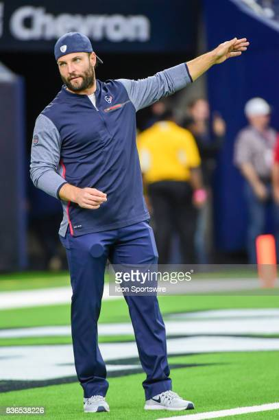 Houston Texans Offensive/Special Teams assistant Wes Welker during warmups before the NFL preseason game between the New England Patriots and the...