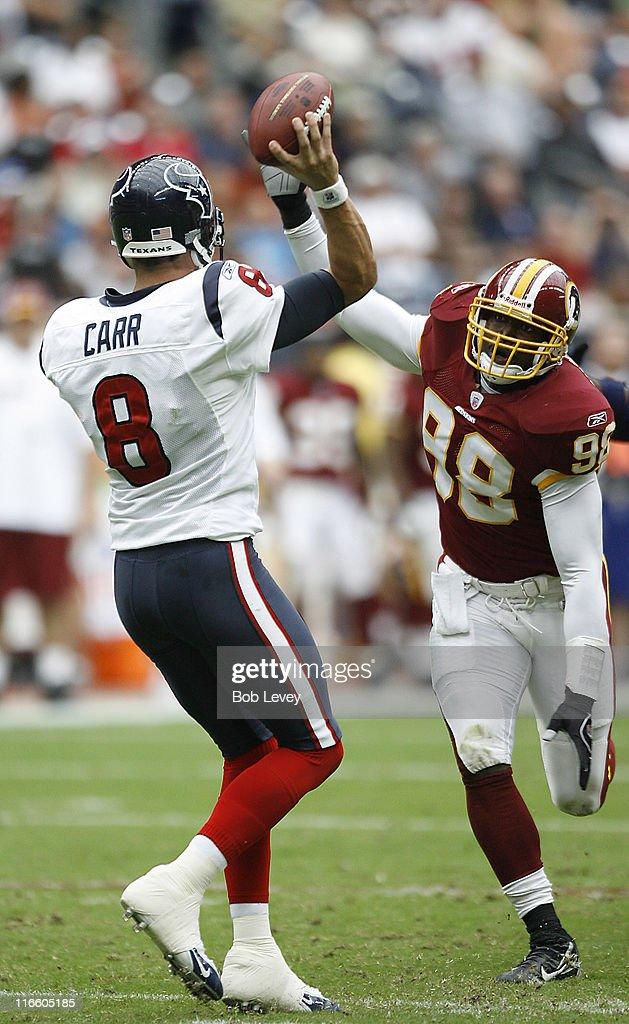 Houston Texans quarterback David Carr has his pass attempt knocked down by Washington Redskins linebacker Lemar Marshall versus Washington at Reliant...