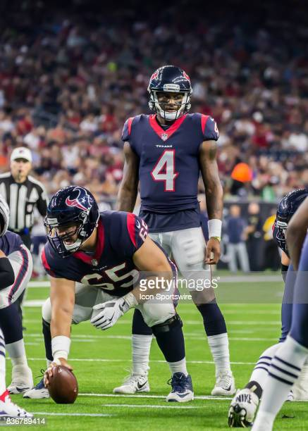 Houston Texans quarterback Deshaun Watson calls a play during the NFL preseason game between the New England Patriots and Houston Texans on August 19...
