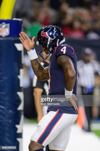 Houston Texans quarterback Deshaun Watson celebrates a touchdown run during the NFL preseason game between the New England Patriots and the Houston...