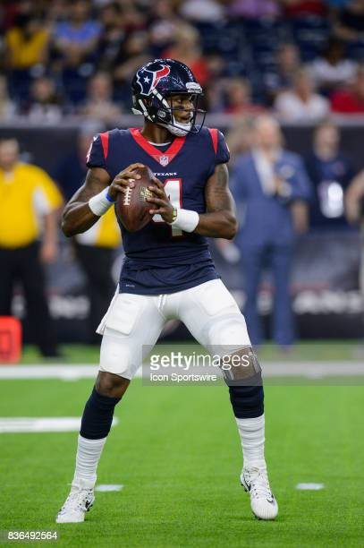 Houston Texans quarterback Deshaun Watson drops back to throw a pass during the NFL preseason game between the New England Patriots and the Houston...