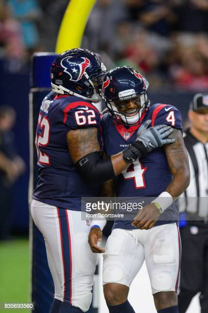 Houston Texans quarterback Deshaun Watson is congratulated by Houston Texans offensive guard Chad Slade after a touchdown during the NFL preseason...