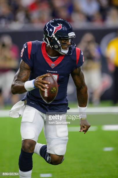Houston Texans quarterback Deshaun Watson scrambles during the NFL preseason game between the New England Patriots and the Houston Texans on August...